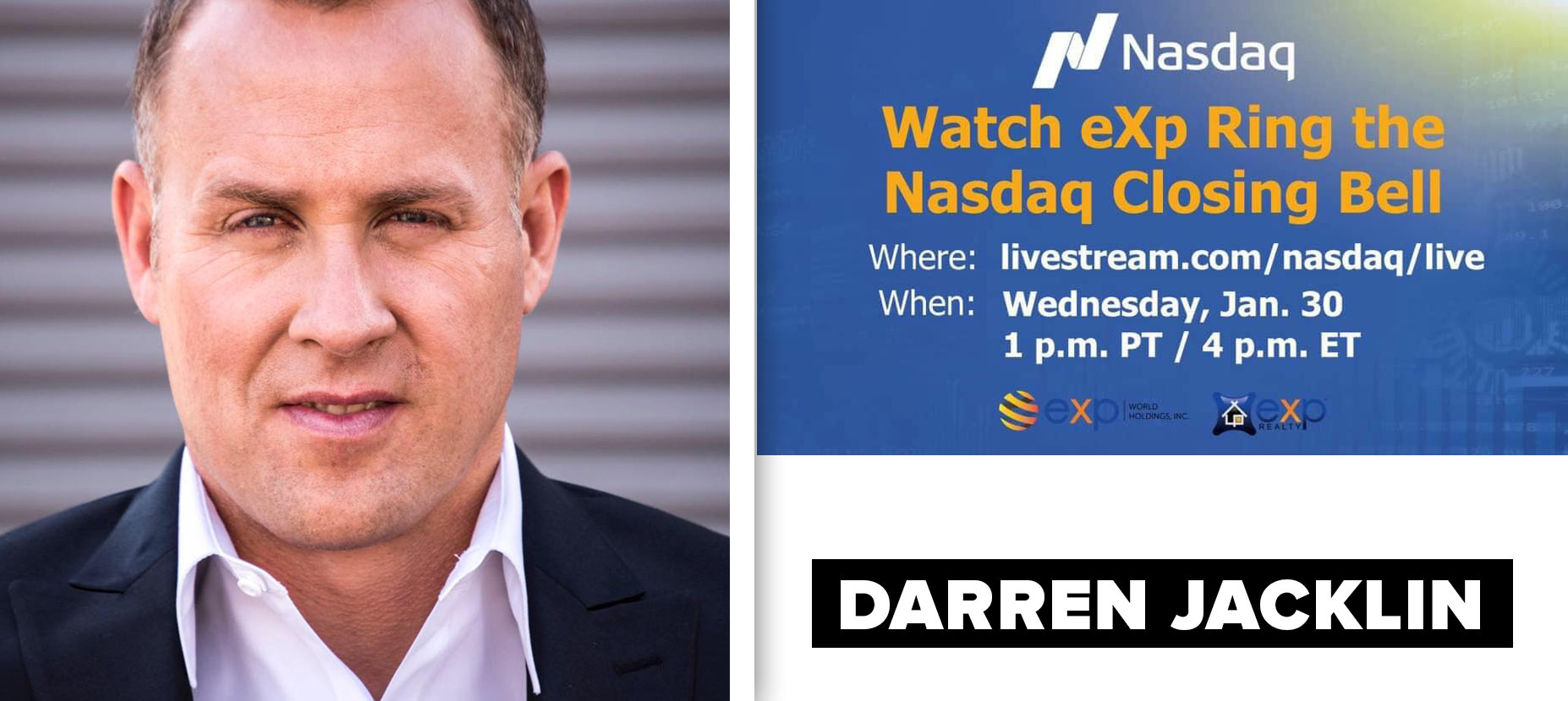 Darren Jacklin to ring the NASDAQ bell on January 30th